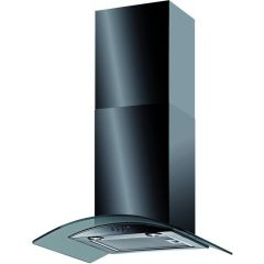 Baumatic BT6.3BGL 60Cm Curved Glass Chimney Hood Black