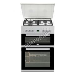 Beko EDG6L33W 60Cm Gas Double Oven Glass Lidded Lpg Convertable