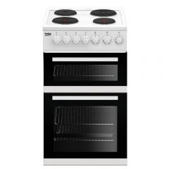 Beko EDP503W 50Cm Solid Plate Double Oven Electric Cooker