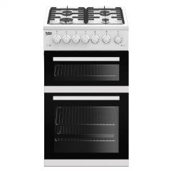 Beko EDVG505W 50Cm Gas Cooker With Double Oven