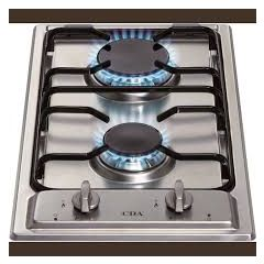 CDA HCG301SS Domino Two Burner Gas Hob, Enamel Pan Support , Front Control