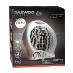 Daewoo HEA1138 2000W Fan Heater. Dual Heat Settings, Thermostatically Controlled, Safety Cut Out, Wh