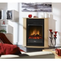 dimplex FGA15 Figaro Compact Fire Suite, Light Oak Effect With Black Back Panel