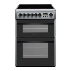 Hotpoint DCN60S 60Cm Sliver Ceramic Double Oven Cooker