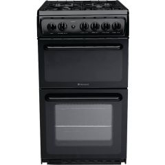 Hotpoint HAG60K 60cm Gas double oven Cooker Black With Fsd