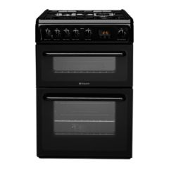 Hotpoint HAG60K 60cm Gas double oven Cooker white With Fsd