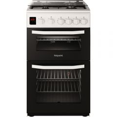 Hotpoint HD5G00CCW 50Cm Gas Cooker Twin Cavity With Lidded Hob