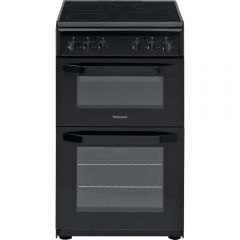 Hotpoint HD5V92KCB 50Cm Black Twin Cavity Cooker With Ceramic Hob