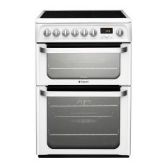 Hotpoint HUE61PS 60Cm Cooker Ceramic Double Oven White