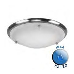 Minisun 13203 Ip44 Flush Ceiling Light Nickel