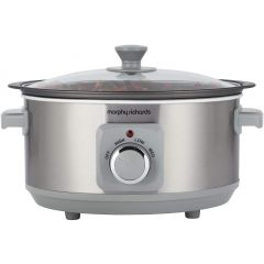 Morphy Richards 460018 Brushed Stainless Steel 3.5L Aluminium Slow Cooker