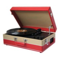 Steepletone SRP05TT RED+CREAM Retro 60S Style Portable Record Player With Mw/Fm Radio