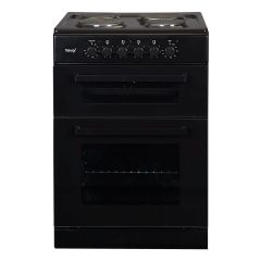 Teknix TK60TEB 60Cm Twin Cavity Cooker With Solid Plate Hob Black