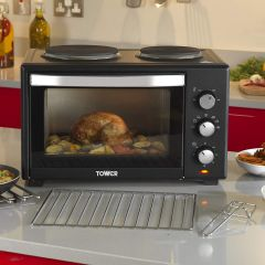 Tower T14013 28L Mini Oven With Double Hotplates