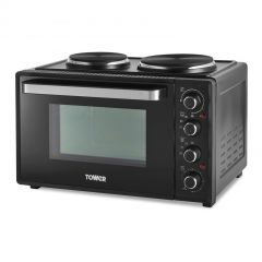 Tower T14044 32L Mini Oven With Hot Plates Black With Silver Accents