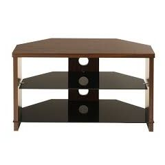 TTAP MON-800-WAL Montreal 800Mm TV Stand In Walnut And Black Glass